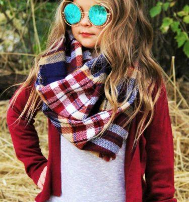 Childrens plaid scarf
